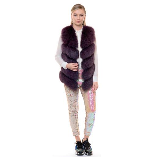 Vesta blana naturala vulpe, culoare violet, 70cm
