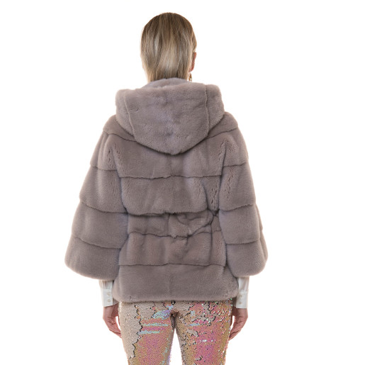 Jacheta blana naturala vizon cu gluga, roz metalic pudrat, 65cm
