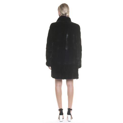 Haina din blana naturala de vizon/nurca neagra , 90cm , 5 in1