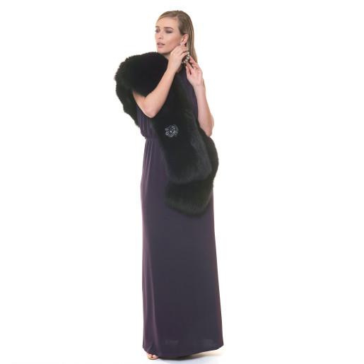 Capa blana naturala vulpe, neagra, 90x200 cm