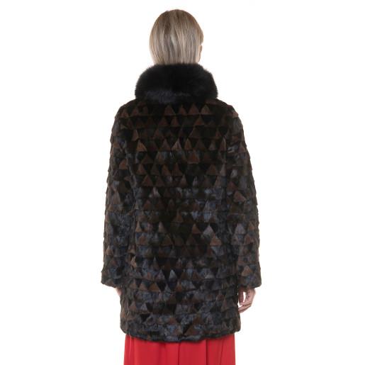 Jacheta blana naturala vizon combinatie negru-maro, reversibila, 85cm