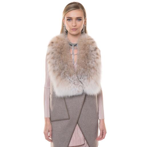 Vesta cashmere cu blana naturala lynks, asimetrica, 70cm