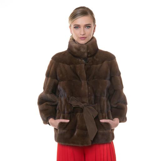 Jacheta blana naturala vizon, maro velvet, cu cordon, 65cm