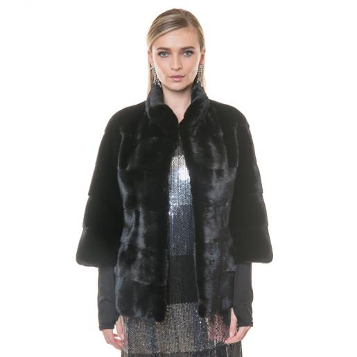 Jacheta blana naturala vizon Blackglama, negru, 60cm