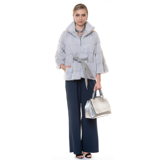 Jacheta blana naturala vizon gri deschis, 65cm