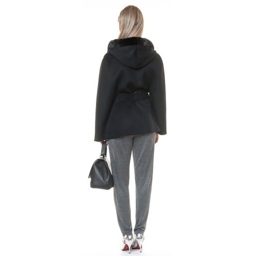 Jacheta cashmere cu vizon, negru, 68cm