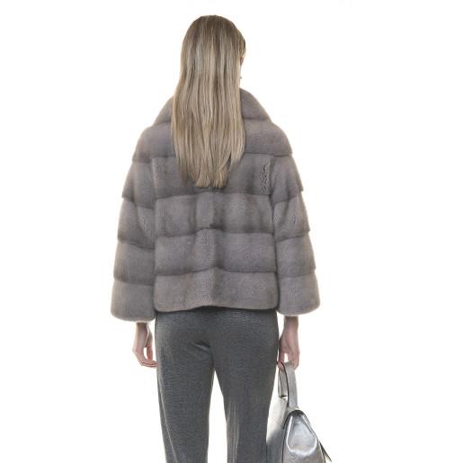 Jacheta blana naturala vizon gri, 50cm