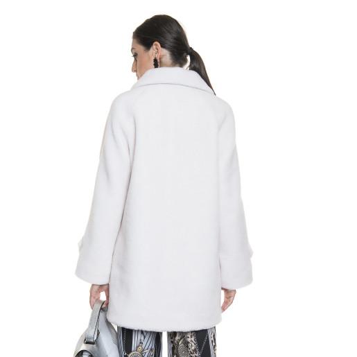 Haina de blana naturala din miel Australian, blana tip lana, alb, 80 cm