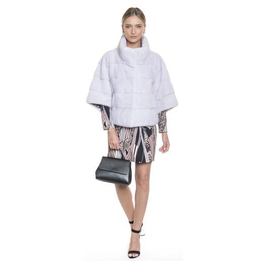 Jacheta blana naturala vizon/nurcă, culoare gri argintiu, 55 cm