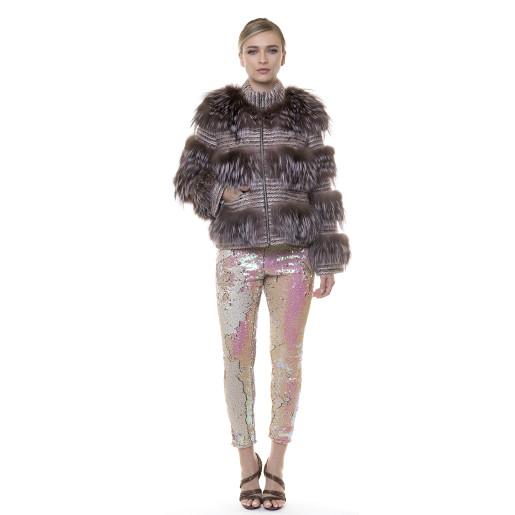 Jacheta lana cu blana naturala vulpe, dusty pink, 52cm