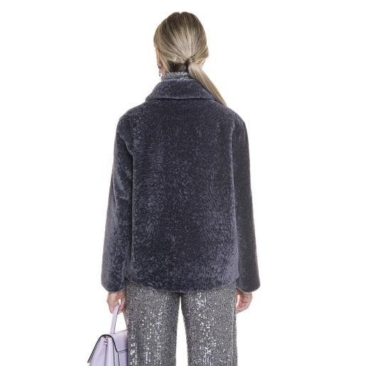 Jacheta dama din blana naturala tip lana, din miel Merinos, roz indigo, 62 cm