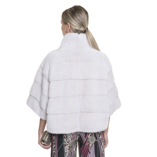 Jacheta blana naturala de vizon, 55 cm, gri cristal