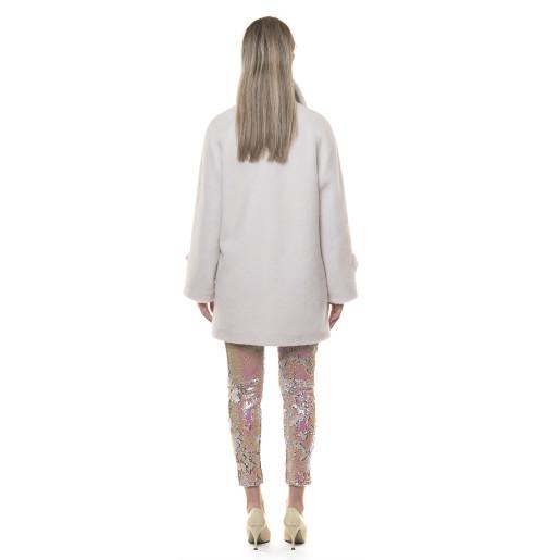 Palton blana naturala miel, blana tip lana, alb, 80cm