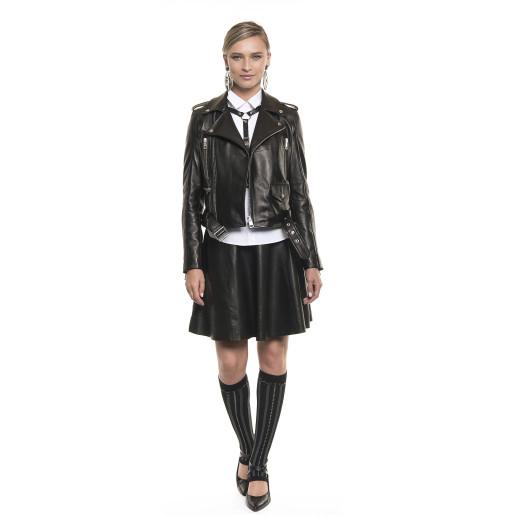 Jachetă de piele naturală, tip Biker, neagră