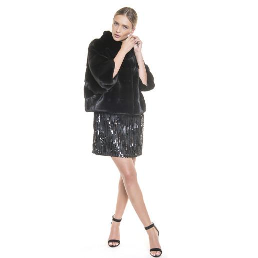Jacheta blana naturala de vizon, 55 cm, neagra