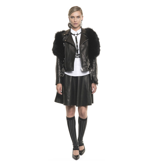 Jachetă de piele naturală cu accesoriu de blană naturală de vulpe, tip Biker, neagră