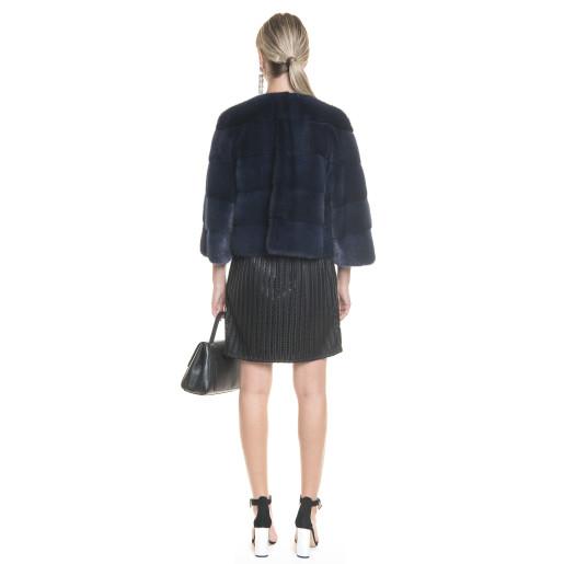 Jacheta scurta blana naturala vizon/nurca, 52 cm, culoare speciala Royal Blue