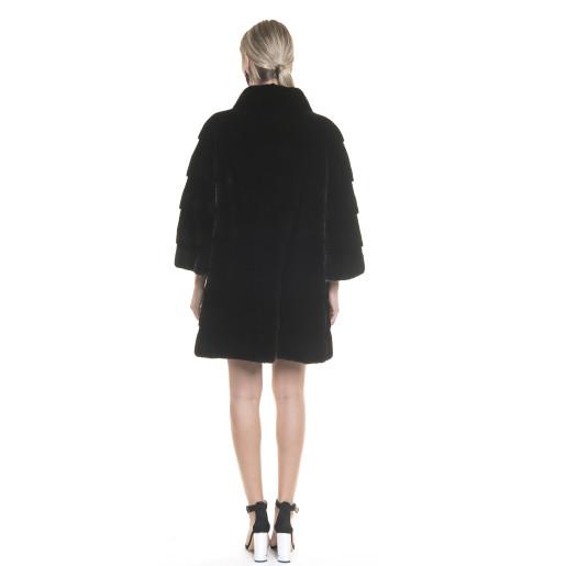 Haina blana naturala vizon, 86 cm, neagra