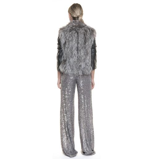Jacheta blana naturala vulpe argintie cu maneci din piele neagra