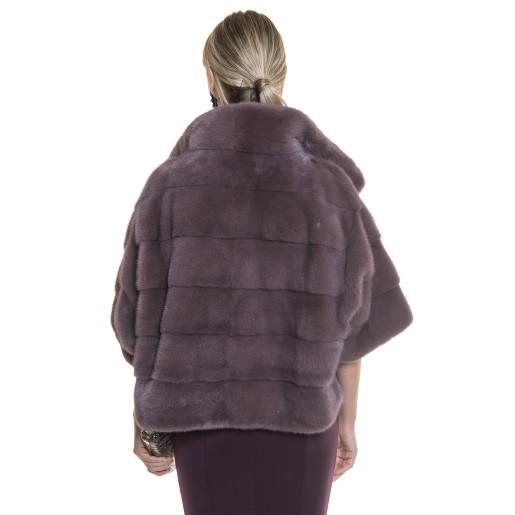 Jacheta blana naturala de vizon, 55 cm, Dusty Plum