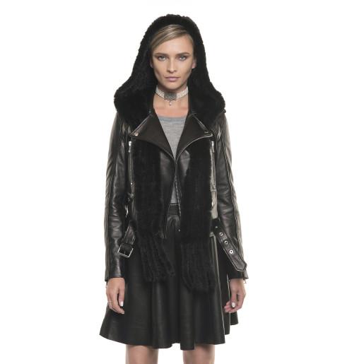 Jachetă de piele naturală cu glugă de blană naturală de vulpe, stil biker, neagră