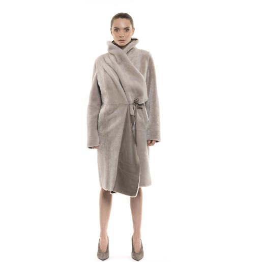 Palton de blană naturală de miel, reversibil, bej pastel