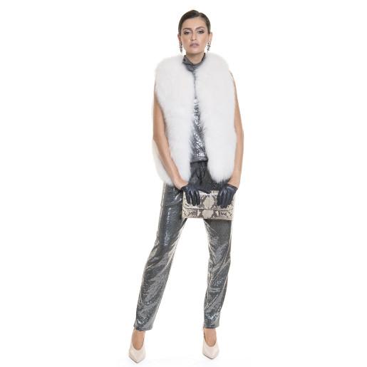 Vesta blana naturala vulpe,  bucata intreaga, alba, 50 cm