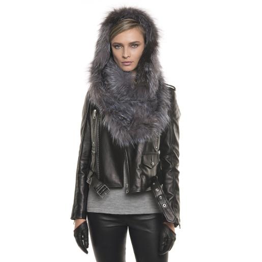 Jachetă de piele naturală cu glugă de blană naturală de vulpe , stil biker, Silver Gray
