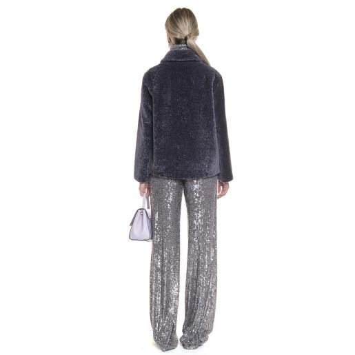 Jacheta blana naturala tip lana, din miel Merinos, roz indigo, 62 cm