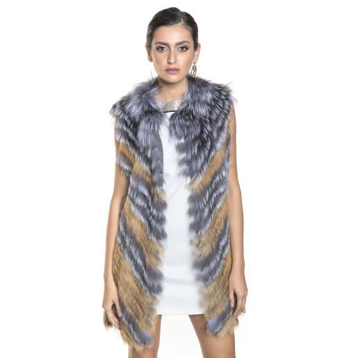Vesta blana naturala vulpe argintie si aurie cu dispunere oblica, 80 cm