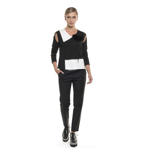 Bluză asimetrică cu umeri decupați, alb/negru