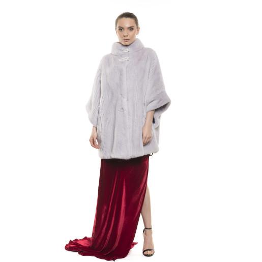 Haină de blană naturală de vizon, striații verticale, mânecă amplă, gri roz, 70 cm