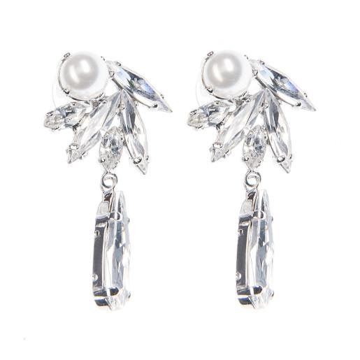 Cercei Lila perle Swarovski White Pearl, cristale Swarovski
