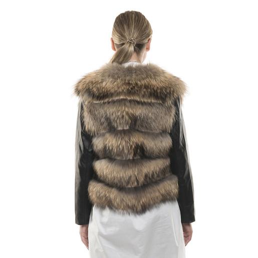 Haină de blană naturală de raton, mâneci de piele naturală, negre