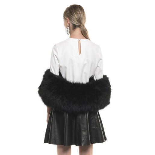 Capă de blană naturală de vulpe, elastică, neagră