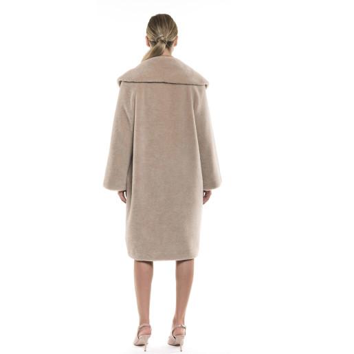Palton dama de blană naturală de miel Australian Pearl, blana tip lână, cu mânecă 3/4, guler tip șal, bej, 107 cm