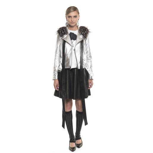 Jachetă de piele naturală, tip Biker, accesoriu de blană, deteșabilă, silver