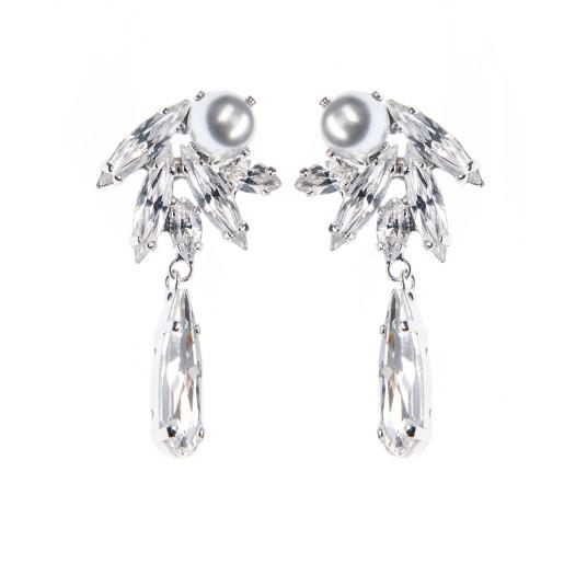 Cercei Lila perle Swarovski Grey, cristale Swarovski