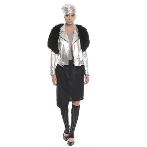 Jachetă de piele naturală, tip Biker, accesoriu de blană naturală de vulpe, detașabilă, silver
