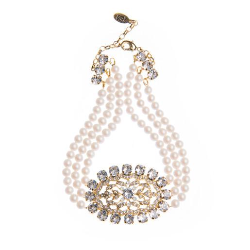 Colier Clarisa perle Swarovski White Pearl, cristale Swarovski
