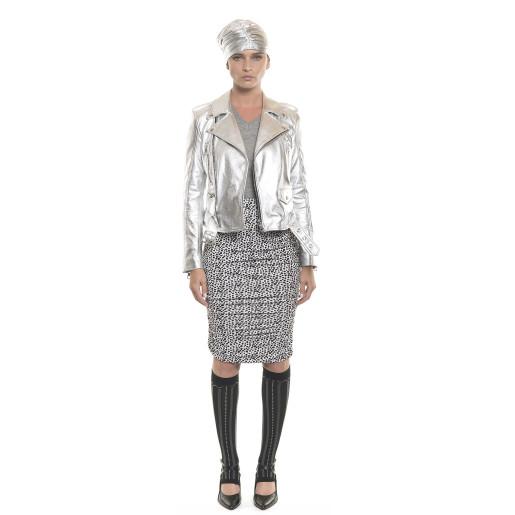 Jachetă de piele naturală, tip Biker, silver