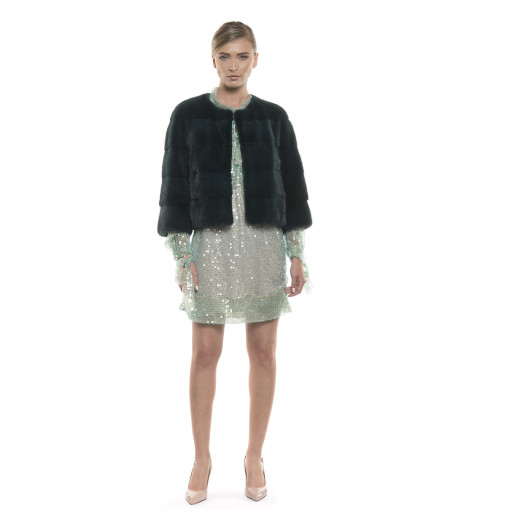 Jachetă de blană naturală de vizon/ nurcă, verde-închis, 50 cm