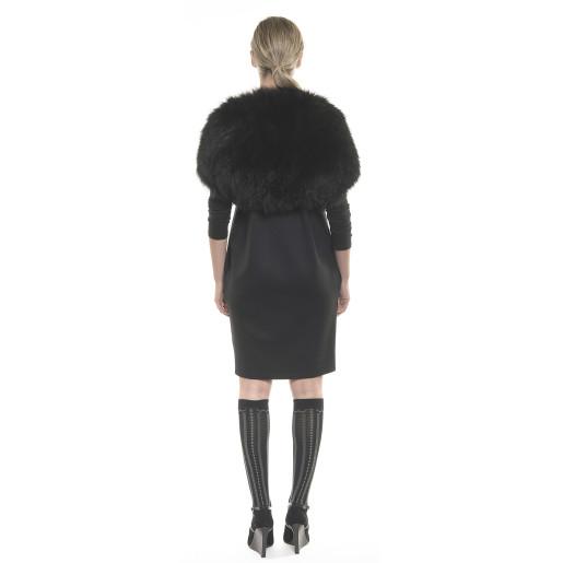 Rochie tricot cu tul, decupata la umeri
