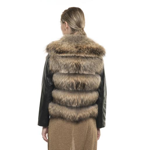 Jachetă de blană naturală de raton, cu mâneci, aurie, 60 cm
