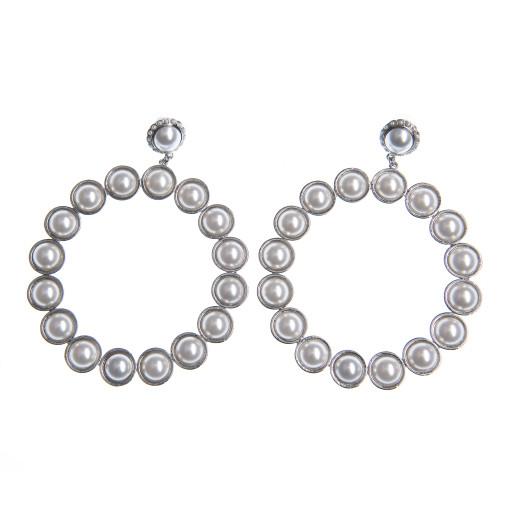 Cercei Aqua perle Swarovski White Pearl