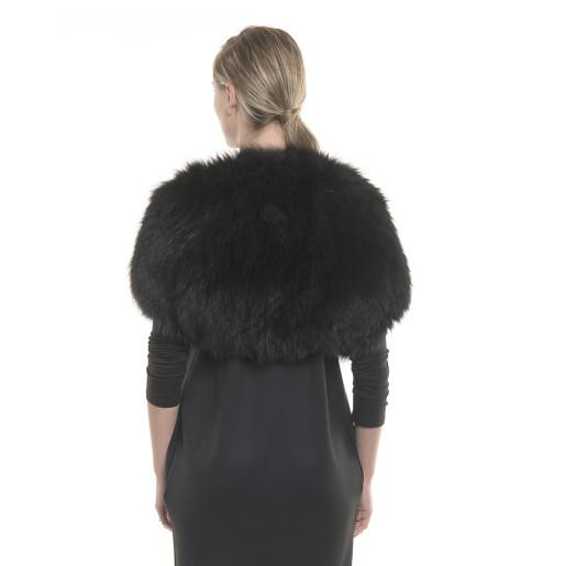 Natural fox fur cape, elastic, black