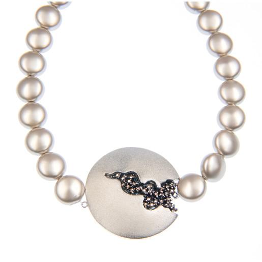 Colier Selena perle Swarovski Platinum Pearl, cristale Swarovski