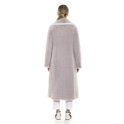 Haină de blană naturală de vizon/nurcă roz pudrat cu detaliu de vizon alb, 120 cm