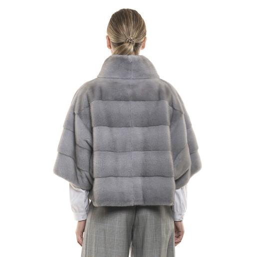 Jachetă de blană naturală de vizon/ nurcă, gri Sapphire, 55 cm