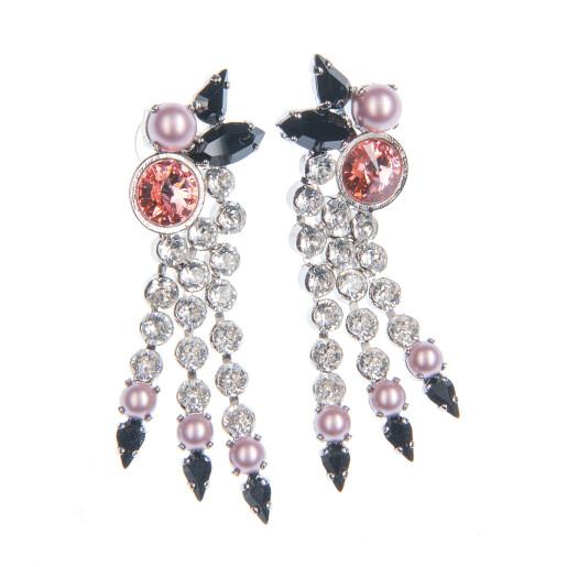 Cercei Kira perle Swarovski Powder Rose, cristale Swarovski multicolor